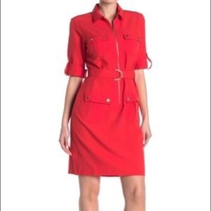 Bright Red Sharagano Zip-up Dress with Belt